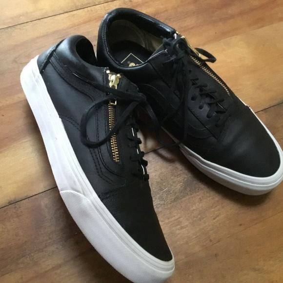 Vans Old Skool Leather Zip Black Gold Sneakers